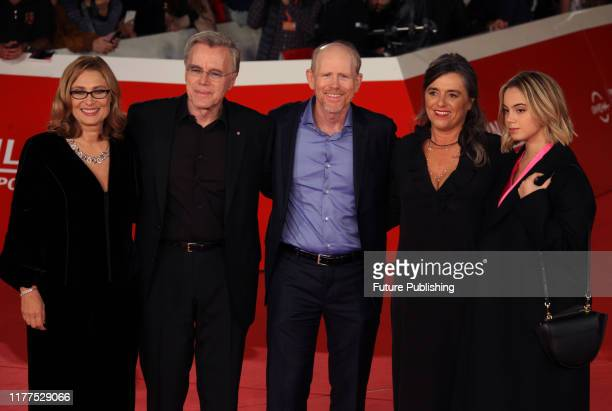From Left Nicoletta Mantovani, the second wife of late Italian tenor Luciano Pavarotti, Scottish producer Nigel Sinclair, US director Ron Howard,...