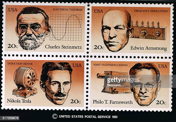 20cent postal stamps of electrical engineers including Charles Steinmetz for electrical theories Edwin Armstrong for Frequency Modulation Nikola...