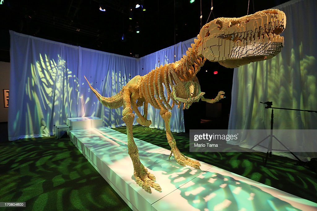 A 20-foot T-Rex dinosaur skeleton, a Nathan Sawaya sculpture, is displayed in the 'Art of the Brick' show at Discovery Times Square on June 18, 2013 in New York City. Sawaya created the pieces entirely with LEGO toy bricks and the exhibition features over 100 works of art created from millions of the toy bricks.