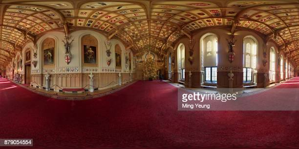A 20ft Nordmann fir tree stands in the St George's Hall at Windsor Castle decorated for Christmas on November 23 2017 in Windsor England