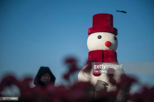 A 20metertall snowman beside the Songhua River on January 5 2019 in Harbin ChinaMore than 50 workers used over 2400 tons of snow to build the...