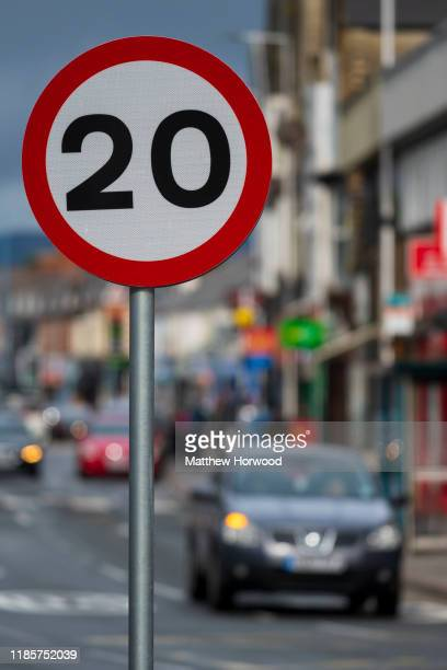 A 20mph speed limit sign on a residential street on October 12 2019 in Cardiff United Kingdom