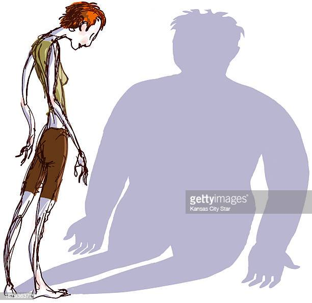 20p x 19p Hector Casanova color illustration of an emaciated young woman standing before her shadow which projects a much larger woman For use with...