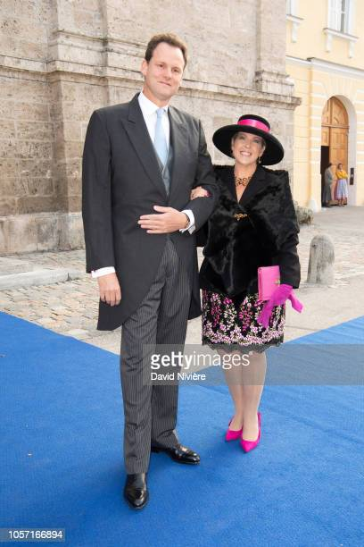 Princess Clotilde of Orleans and her husband Edouard Crepy arrive at the SaintQuirin Church for the wedding of Duchess Sophie of Wurttemberg and...