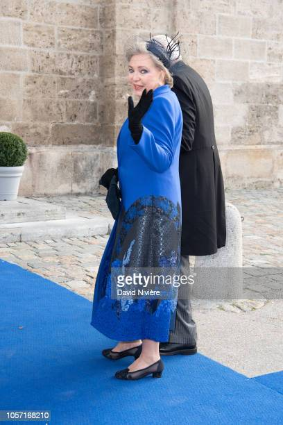 Princess Diane of Wurtemberg arrives at the SaintQuirin Church for the wedding of Duchess Sophie of Wurttemberg and Count Maximilian of Andigne at...