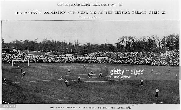 Tottenham Hotspur and Sheffield United in action during the FA Cup Final at Crystal Palace The match ended in a 22 draw but Spurs won the replay 31...