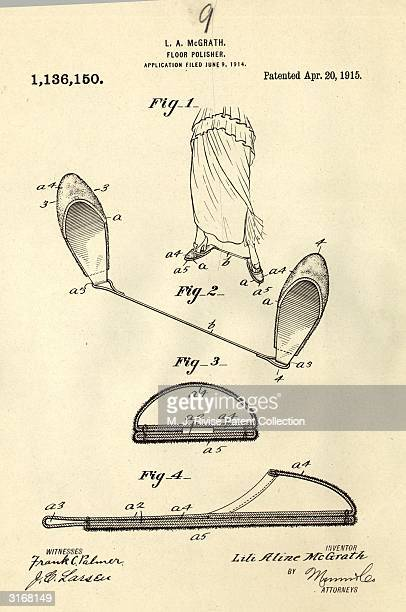 A pair of slippers joined by a cord designed by Lili Aline McGrath to make polishing floors easier Patent no 1136150