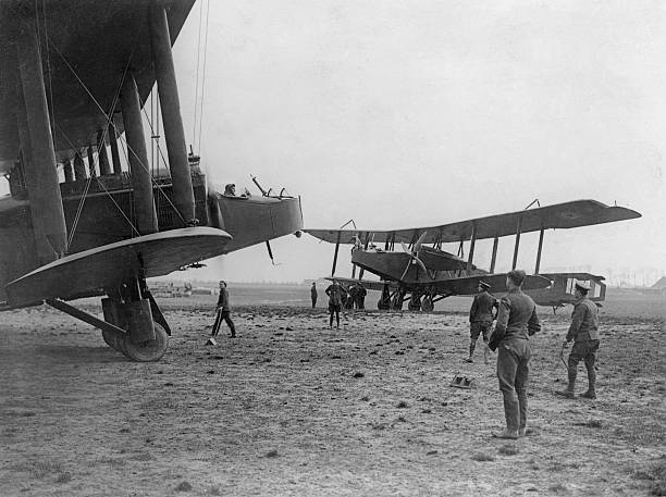 A pair of 'Handley Page Heavy Bombers' at an airfield...