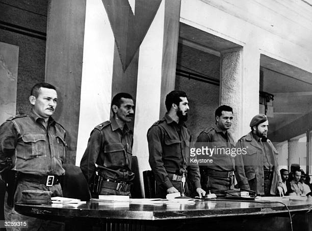 The revolutionary court where the mercenaries who invaded Cuba in the US backed Bay of Pigs invasion were tried From left to right the commandants...