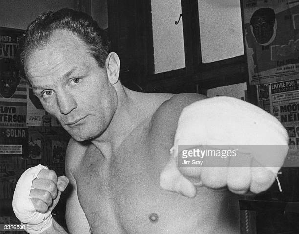 British heavyweight boxing champion Henry Cooper in training at the Thomas A Becket gym London for his world championship fight with Muhammad Ali