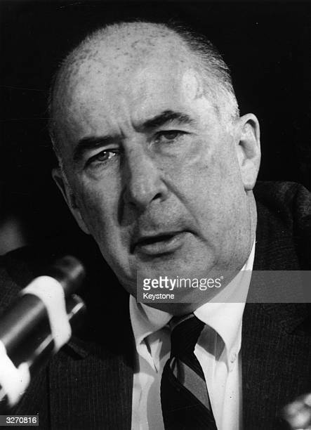 American politician and former attorneygeneral John Mitchell one of Richard Nixon's top aides who faces charges in the Watergate scandal