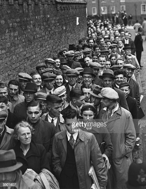 A large queue for tickets outside the Oval cricket ground in London before an important Test Match between England and Australia