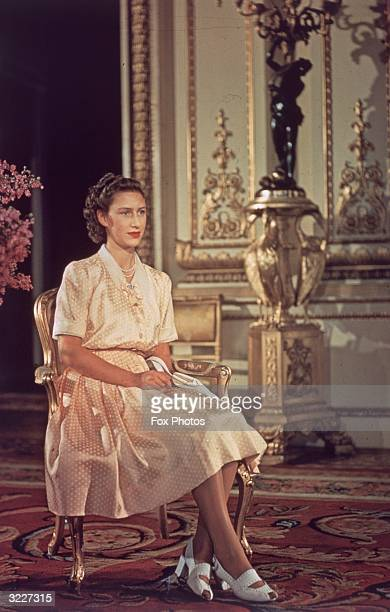 Princess Margaret Rose younger daughter of King George VI and Queen Elizabeth at Buckingham Palace London on her 17th birthday