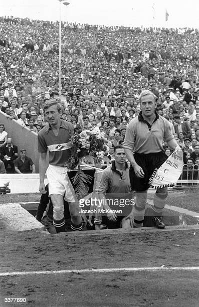 The players of bothe teams emerge onto the pitch as Wolverhampton Wanderers travel to the Soviet Union to play Spartak Moscow in Moscow Original...