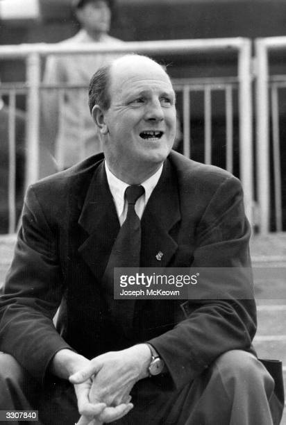 Wolverhampton Wanderers manager Stan Cullis watches his team lose 3-0 against Spartak Moscow in Moscow. Original Publication: Picture Post - 7943 -...