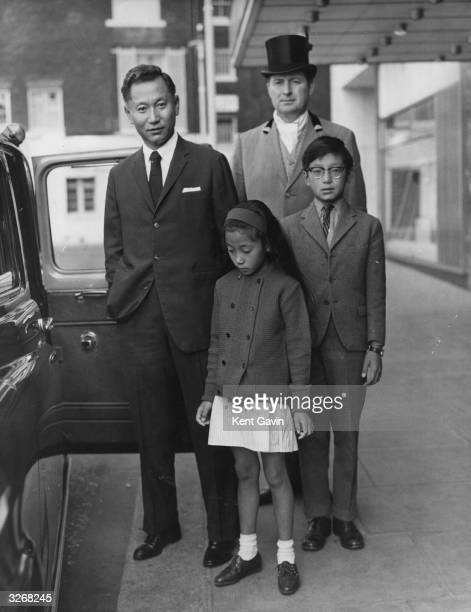 The Maharajah of Sikkim in London with his children Prince Wanchuk and Princess Yang Chen