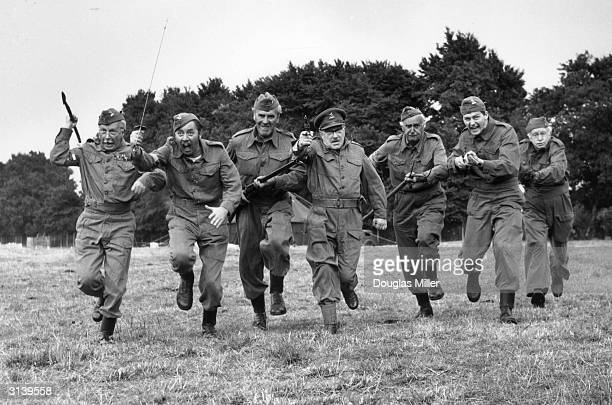 The cast of 'Dad's Army' a popular tv series depicting the activities of the Home Guard Clive Dunn James Beck John LeMesurier Arthur Lowe John Laurie...