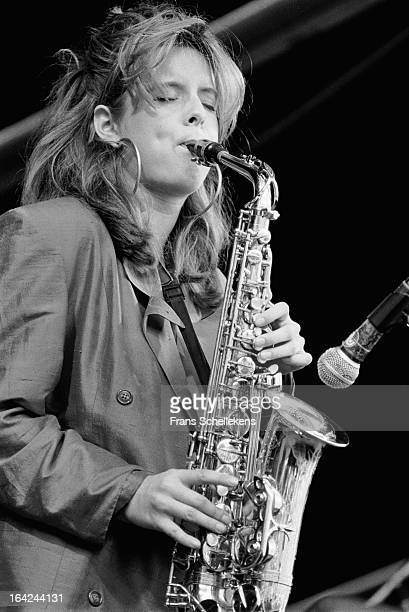 20th AUGUST: Dutch sax player Candy Dulfer performs at Waterpop festival in Wateringen, Netherlands on 20th August 1988.