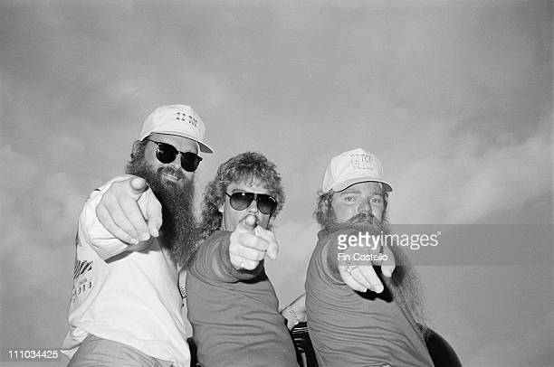 ZZ Top posed backstage at the Donnington Festival Castle Donnington on 20th August 1983 Left to Right Billy Gibbons Frank Beard Dusty Hill