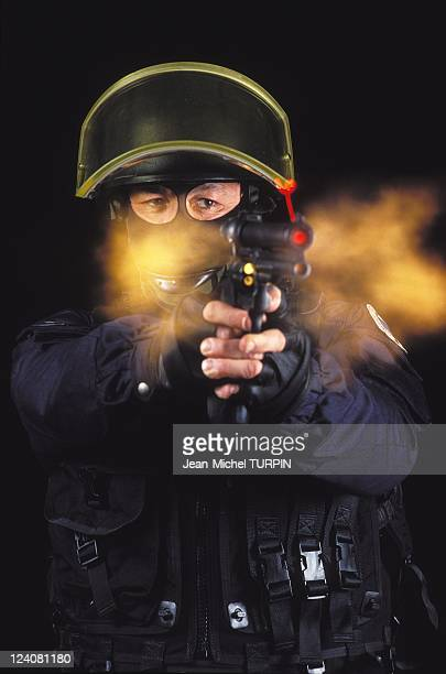 20th Birthday of the National Gendarmerie Intervention Group In France On May 27 1994 Shooting with a gun equipped with laser aiming