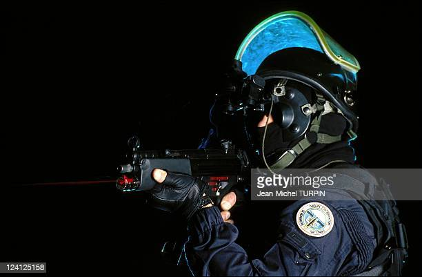 20th Birthday of the National Gendarmerie Intervention Group In France On May 27 1994 In intervention outfit equipped with nocturnal aiming machine