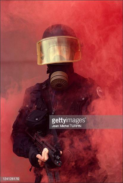 20th Birthday of the National Gendarmerie Intervention Group In France On May 27 1994 Policeman in gazed atmosphere