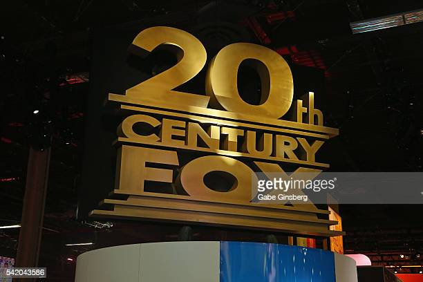 A 20th Century Fox sign hangs above the 20th Century Fox booth at the Licensing Expo 2016 at the Mandalay Bay Convention Center on June 21 2016 in...