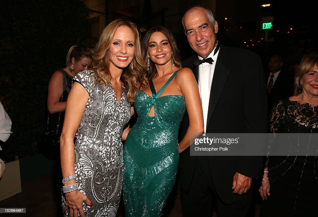 20th Century Fox Television chairman Dana Walden, actress Sofia Vergara, and 20th Century Fox Television chairman Gary Newman attend the FOX Broadcasting Company, Twentieth Century FOX Television and FX 2012 Post Emmy party at Soleto on September 23, 2012 in Los Angeles, California.