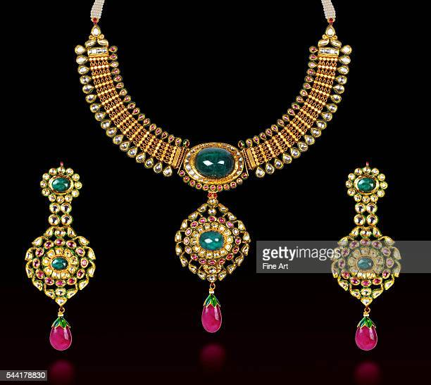 20th century Indian necklace and earring set with gold diamonds rubies emeralds and enamel work Private collection