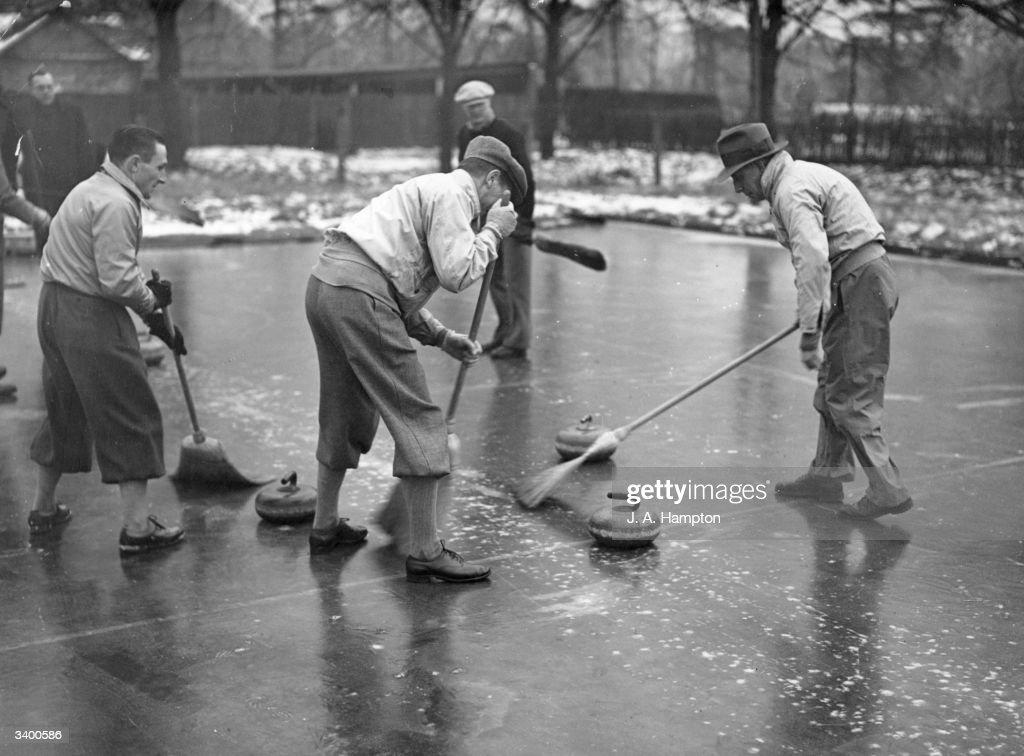 Curling at the Royal Wimbledon Golf Curling Rink, Wimbledon, London.