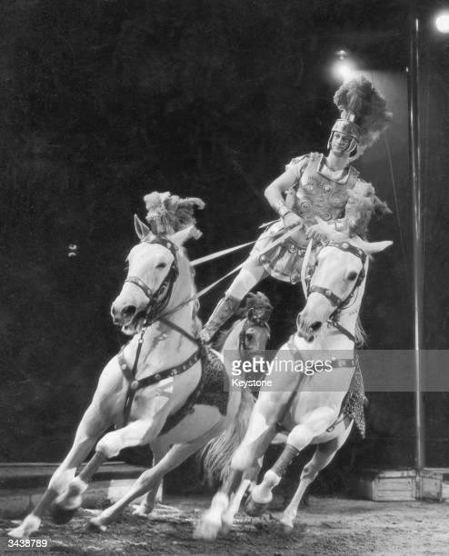 Douglas Kossmeyer performs his Ben Hur act at a dress rehearsal of the Bertram Mills Circus at Olympia London