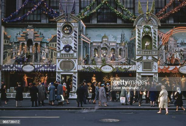 New York City People gather out in front of Saks Fifth Avenue during the Christmas holiday season