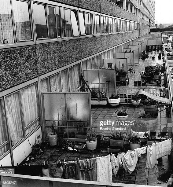 A row of gardens on the Aylesbury Estate Southwark London