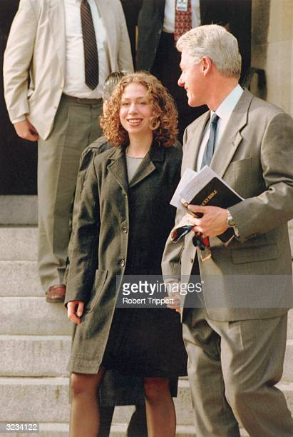 President Bill Clinton and Chelsea Clinton depart the Foundry Methodist Church after service in Washington DC