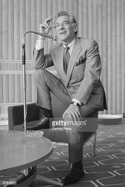 Conductor Leonard Bernstein at a press conference in the Royal Festival Hall London on the occasion of his visit to conduct the London Symphony...