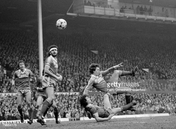 20th February 1983 Anfield Liverpool FA Cup 5th Round Liverpool 2 v Brighton Hove Albion 1 Liverpool's Craig Johnston upends Brighton's Steve Gatting...