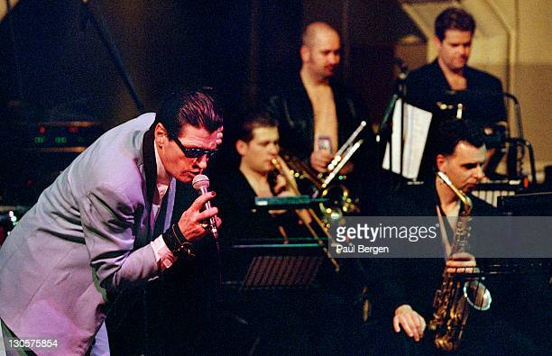 Dutch singer Herman Brood performs live on stage with his big band in Amsterdam Netherlands on 20th February 1999