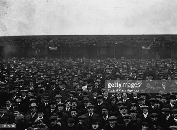 A large crowd in the stands to watch Tottenham Hotspur play Sunderland