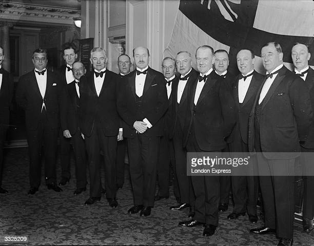 Prince Arthur William Patrick Albert third son of Queen Victoria surrounded by members of the Auxiliary Patrol of the RNVR at a dinner