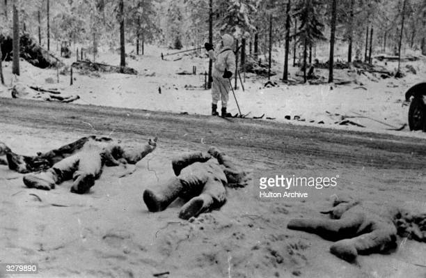Dead Russians lying along the roadside after the Finnish victory at the Battle of Suomussalmi in Finland