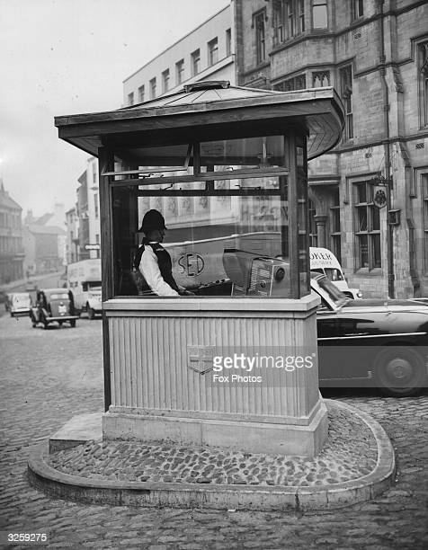 A police box in Market Square Durham which is equipped with a television screen to monitor the approach of traffic from all directions Durham is the...