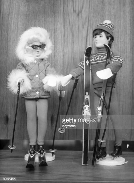Lanes Brothers toys 'Sindy' and her boyfriend 'Paul' in their skiwear as part of the new winter sports range at a toy preview in Edgware Road