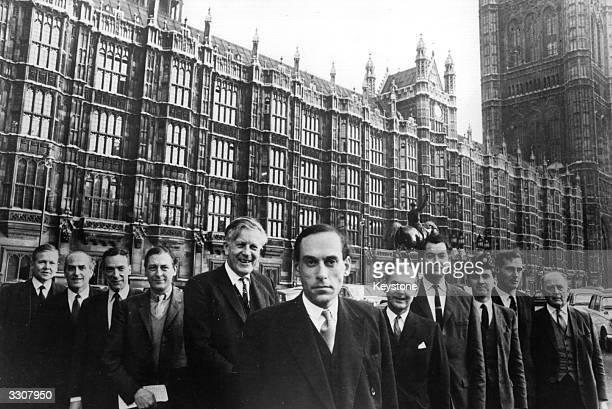 The Liberal Party outside Westminster Palace London Left to right Richard Wainwright Colne Valley Dr Michael Winstanley Cheadle Peter Bessel Bodmin...