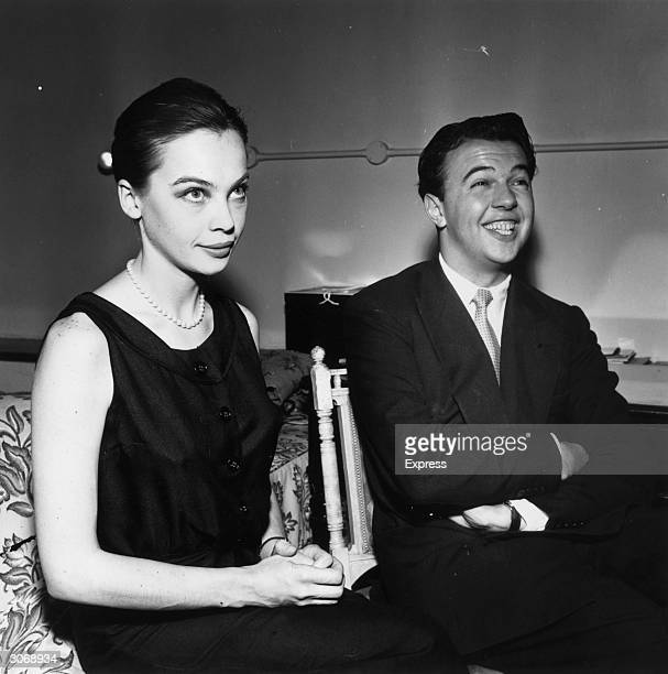 Film star Leslie Caron with fiance theatre and film director Peter Hall