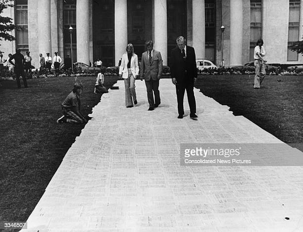 Petition measuring 66 feet by 12 feet and containing 34,606 signatures asking for the impeachment of President Nixon on display at the Rayburn House...