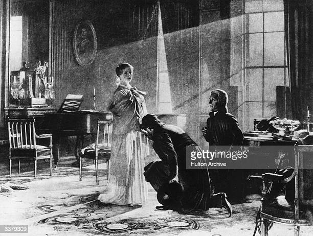 Woken from her sleep Victoria having her hand kissed on being told of her accession to the throne of Great Britain on the death of her uncle William...