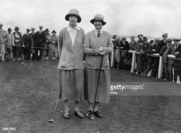 British golfers Joyce Wethered and Cecil Leitch at the Women's British Open at Troon which Wethered won
