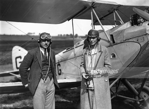 American aviator Amelia Earhart noted for her flights across the Atlantic and Pacific oceans with her pilot Captain A N White at Northolt London