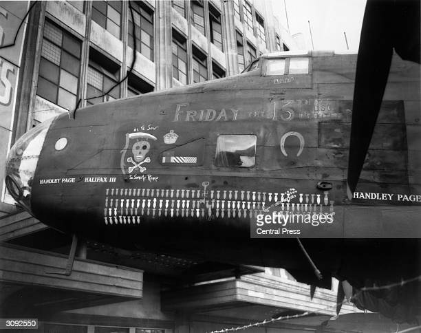 The Handley-Page 'Halifax' bomber 'Friday the 13th' at the British Aircraft exhibition at the site of Lewis' bombed store in Oxford Street, London....