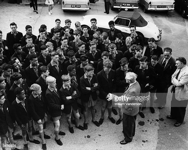 Some of the 60 boys from Dr Barnardo's William Baker Technical Schools who are to be ball boys at the Wimbledon Lawn Tennis Tournament receiving last...